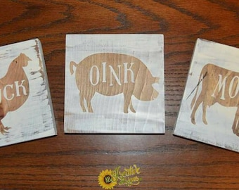 Farmhouse mini signs | oink | moo | cluck | wood signs | mini signs