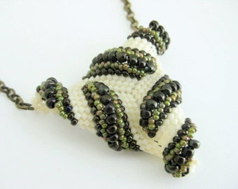 Twisted Peyote Triangle Pendant / Beaded Necklace in Cream, Green and Brown / Seed Bead Pendant / Peyote Triangle / Beadwork Pendant