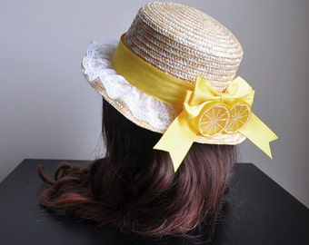 Lemon Country Straw Boater Hat