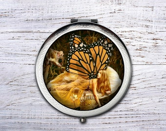Fairy, Compact Mirror, Bridesmaid Gifts Cosmetic Mirror Personalized Gifts for Mom, Birthdays, Ladies, Girls, Women