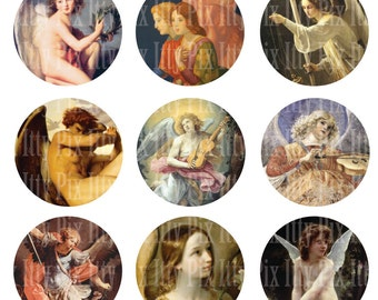 Angels digital collage sheet - 1 inch circle - Religious - Angel bottlecap collage - Fine Art - Instant Download
