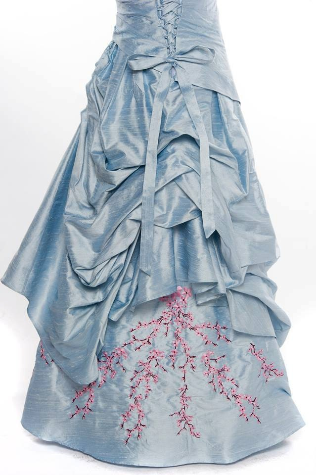 Blue Wedding Dress with Cherry Blossom Embroidery