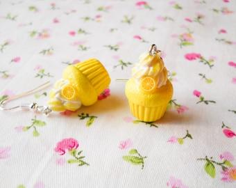 Lemon Cupcake Earrings, Cute Earrings, Cupcake, Kawaii Earrings, Sweet Lolita, Polymer Clay, Charm Earrings, Food Earrings, Fruit