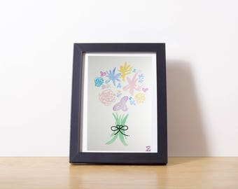 Watercolor flowers 5 x 7 inches / Watercolor bouquet of flowers 5 x 7 inch