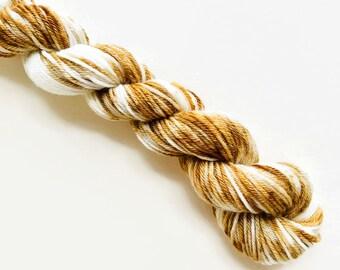 MOCHA CREAM hand dyed yarn mini skein sock fingering yarn merino wool speckle yarn sock mini white brown speckle yarn