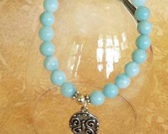 Amazonite Stretch Bracelet Yoga Jewelry Stretchy Amazonite Elastic Bracelet Boho Jewelry Womens Gift