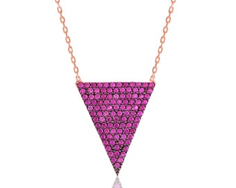 Pink Triangle Sterling Silver Necklace - IJ1-1706