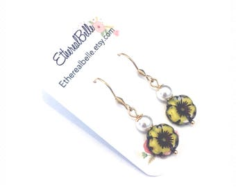 Gold stainless steel earrings, surgical steel earrings, hypoallergenic earrings, Swarovski pearl earrings, czech flower earrings