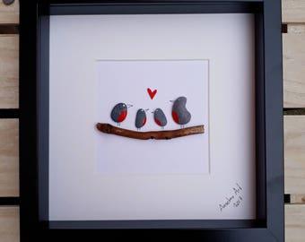 Robin family pebble picture, Framed pebble art, Birthday gift, Family gift, Family pebble, Robin gift, Personalised gift, kieselsteinbilder