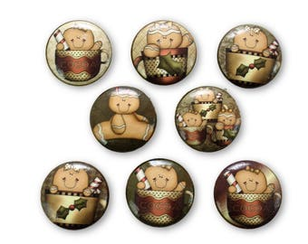 Set of 8 Gingerbread and Cocoa Christmas Cabinet Knobs