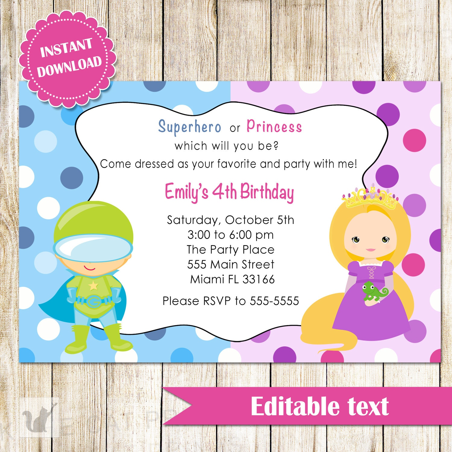 princess and superhero party invitations - Tubo.thebeerengine.co