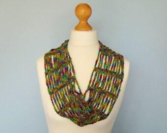 Multi-coloured Infinity Scarf/Cowl handmade  crocheted in premium yarn. Chain and loop style.