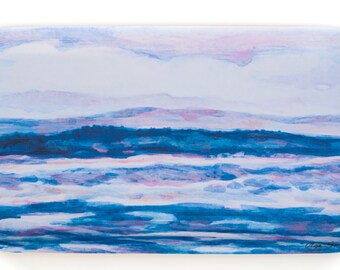 Blue Hue, Lazy Day... Choppy Waters, Wooden Serving Tray, 43x22 cm, by Olga Saxin