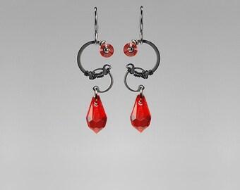 Red Swarovski Crystal Industrial Earrings, Light Siam Swarovski Crystals, Statement Earrings, Red Crystal Earrings, Space, Erinome II v6