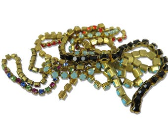 Vintage Swarovski Rhinestone Chain Pieces - mixed lot (3 feet of scrap pieces) (S529)