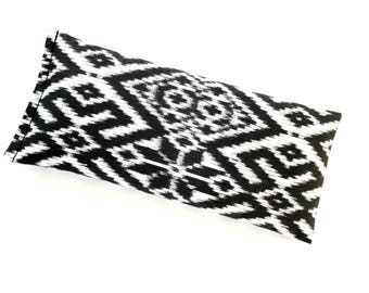 Weighted Eye Pillow, Tribal Print Aromatherapy Pillow, Black and White Flax Pillow