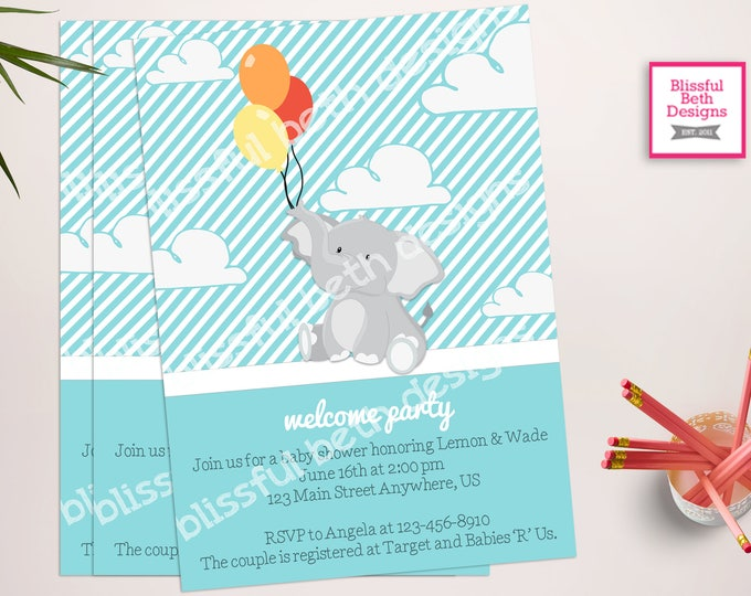 ELEPHANT BABY SHOWER, Elephant Baby Boy Shower Invitation, Elephant Baby Shower, Boy Elephant Invitation, Shower Invitation, Welcome Party