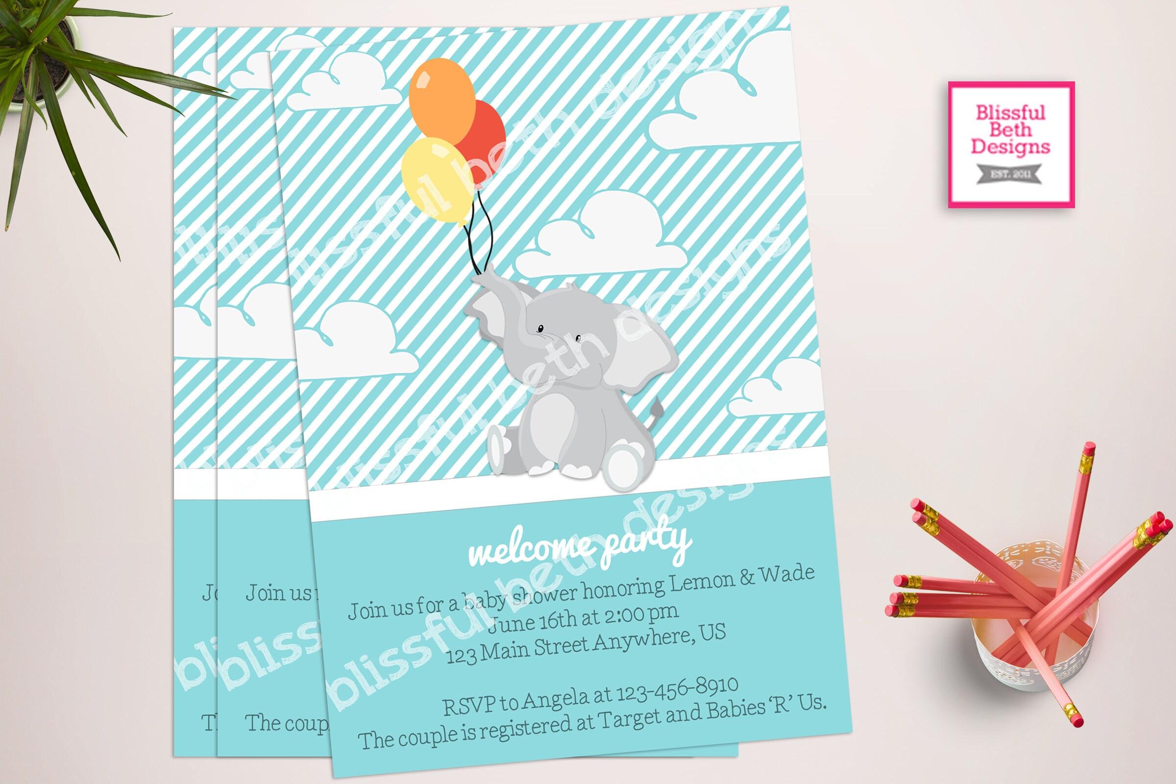 ELEPHANT BABY SHOWER, Elephant Baby Boy Shower Invitation, Elephant Baby  Shower, Boy Elephant Invitation, Shower Invitation, Welcome Party