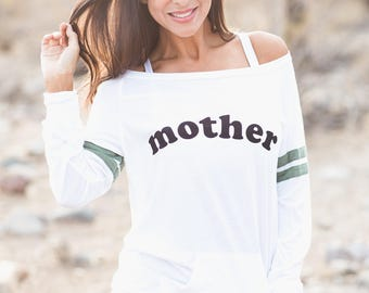 Mother. Wide Shouldered Sporty Long Sleeved Tee. Off the Shoulder Top. Mother Shirt. Gift for Mother. Christmas Gift. Firedaughter Clothing.