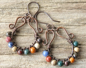 Multicolored hoop earrings copper wire wrapped stone beads