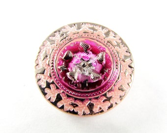 1 pc Hand Made Art Czech Glass Button size 10'', 22.5mm, pink and silver (BUT157/10)