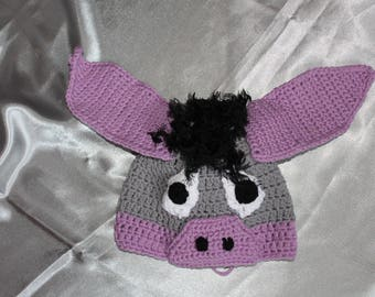 hand crocheted a beanie, enfanf, animal, Eeyore, gray and purple