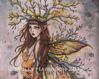 Fairy Art - Autumn Queen - Fine Art Print by Molly Harrison Fantasy Art 9 x 12