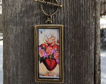 Sacred Heart vintage holy card image necklace