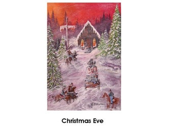 Christmas Eve    Gelcee Print  Fine Art Print By Wyoming Artist   Joyce Lee   A Church From Yesteryear