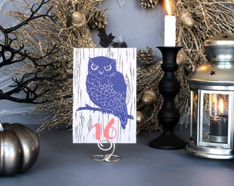 Halloween Owl Table Number Spooky Table Marker Modern Fall Wedding Party