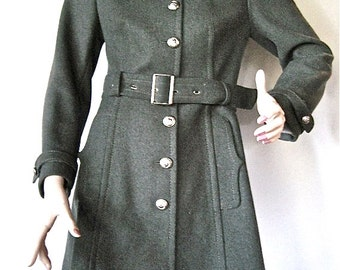 Beautiful Vintage Italian Grey Wool Military Trench Coat by 'HAPPENING mods' SM/ X Sm