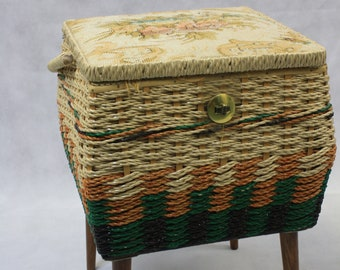 Tall Pastel Tapestry Sewing Box with Handle and Legs Floral Striped Green Orange Brown Sewing Seamstress Knitter Crafter Gift Retro Box