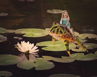 Digital Photography Backdrop, Frog Prince, Thumbelina, Nature Digital Backdrop, Frog Digital Background, Reptile, Lily Pad Pond with Frog