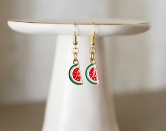 Watermelon Earrings, Watermelon Jewelry, Watermelon, Summer Style, Summer Jewelry, Summer earrings, Fruit Jewelry, Fruit Earrings