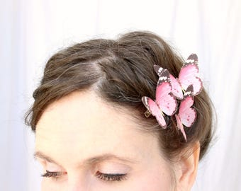 3 pink monarch silk butterfly hair clips . through pink poppy fields . realistic gift for wedding, bride, bridesmaid, flower girl, birthday