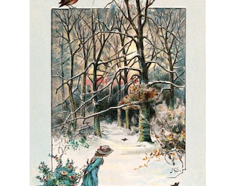 Christmas Card - Girl with Holly and Berries in the Snow - Christmas Robin - Holiday Notecard