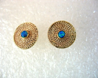 Angelique Earrings - gold filigree earrings with Lab Opals