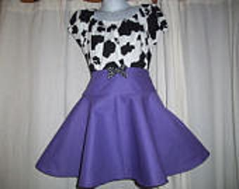 Custom Boutique Western Wear Girls Cowgirl Twirl Skirt and Cow Print Top Skirt