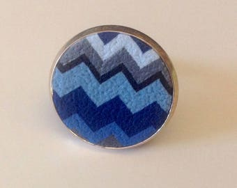 Ring polymer clay blue and gray Chevron pattern