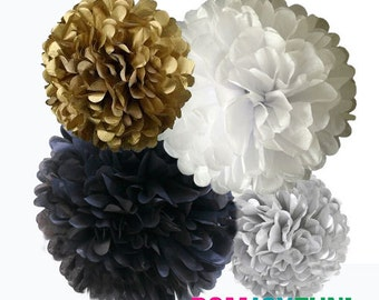 Black, White and Gold Tissue Paper Poms, 4 Piece Set, Black and Gold Party Decorations, Graduation Party Decor, Black, White, Gold, & Silver
