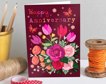 Happy Anniversary Card - Wedding Anniversary Card - Anniversary Card - Floral Anniversary Card - Card For Husband - Card for Parents