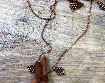 Sweet BoHo leather and copper long necklace