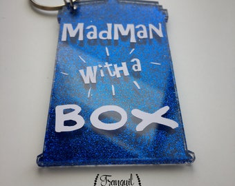 Dr. Who- Mad Man with a Box, blue glitter keychain, tardis
