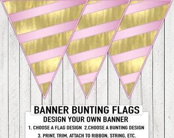 Pink Gold Baby Shower Banner Bunting Gold Foil Stripe