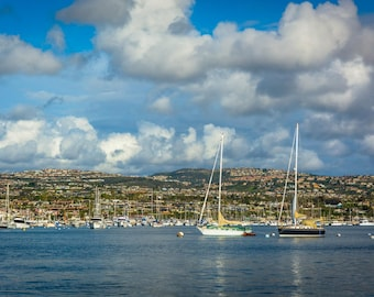 Boats and view of hills across Beacon Bay, from Newport Beach, California. Photo Print, Metal, Canvas, Framed.