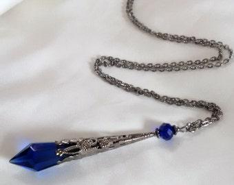 Blue Pendulum Necklace - Vampire Drop Necklace - Crystal Prism Pendulum - Divination Necklace- Gothic Wicca Pagan Necklace -