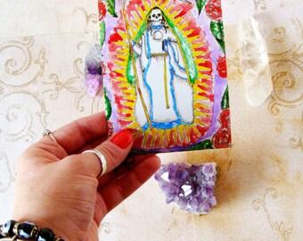 Goddess Art Mexican Folk Saint La Santisima Muerte Prayer Card Santa Muerte Art Altar Art Holy Death Art Spiritual Art Pagan Fantasy Art