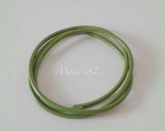 Round 5 mm leather cord / green Olive - 1 meter