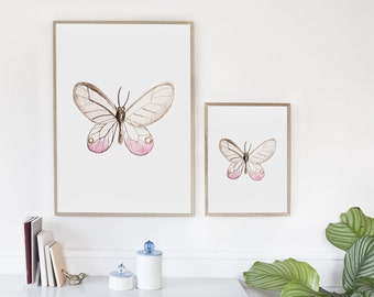 Pink Butterfly art print, Girly wall art, Bedroom decor, Nursery girl decor PRINTABLE Butterfly wall art, Butterfly decor, Butterfly poster