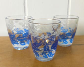 3 vintage blue leaves shot glasses France
